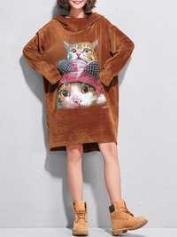 Plus Size Women Velvet Cat Sweatshirt Dress