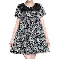 Women Sexy Lace Print Short Sleeved Dresses Round Neck Mini Dress
