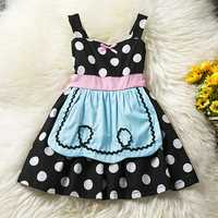 Halloween Costumes Bowknot Dots Printed Straps Princess Dress for Toddler Girls