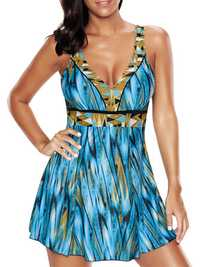 Plus Size 5XL Striped Printed Padding Swimdress With Bottom
