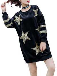 Plus Size Casual Women Star Gold Velvet Sweatshirts