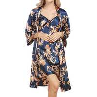 2pcs Comfort Silk Smooth Printed Nightdress Pajamas
