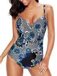 Plus Size Printed Figure Flattering One Piece Swimwear
