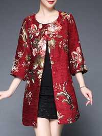 Plus Size Elegant Women Floral Printed Coats