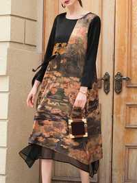 Elegant Printed Patchwork Dress