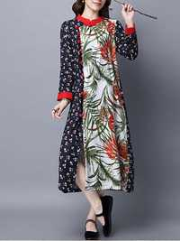 Ethnic Printed Frogs Breasted Women Long Dress Front Open Stand Collar Dresses