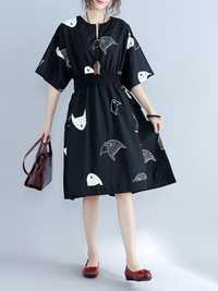 Plus Size Women Fish Printed Dress Elastic Waist Cotton Linen Dresses