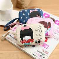 Cute Girl Print Canvas Purse Double Zipper Coin Phone Bag Gift