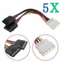 5X 4Pin IDE Molex to ATA SATA Y Splitter Hard Drive Adapter Power Cable