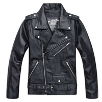 Men PU Leather Jacket Fashion Retro Slim Motor Bike Riding