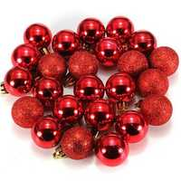 24Pcs Candy Color Plastic Christmas Tree Jewelry Ornament Balls