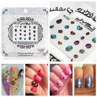 Nail Art Sticker Heart Elliptic Droplets Decal Foil Tips Decorations