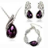 Teardrop Crystal Necklace Earrings Bracelet Jewelry Set Purple 3pcs