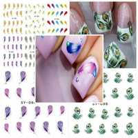 Peacock Feather Nail Art Water Transfers Decals Stickers