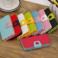 Cross Pattern Wallet Style Buckle PU Leather Case For iPhone 5C