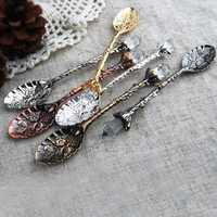 French Style Retro Engraving Stainless Steel Tableware Tea Spoon