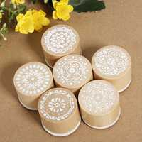 Assorted Floral Vintage Style Round Shape Wooden Rubber Stamp