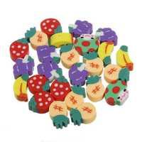 50Pcs Fruit Rubber Pencil Eraser Set Strawberry Kid Children Gift Toy