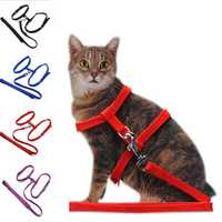 Cat Adjustable Safety Belt Rope Nylon Harness Kitten Lead Leash