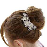 Rhinestone Flower Barrette Wedding Bridal hair Comb