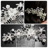 Elegant Pearl Alloy Crystal Flower Wedding Bride Hair Pins Combs