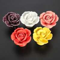 Ceramic Rose Flower Door Knobs Pull Handle