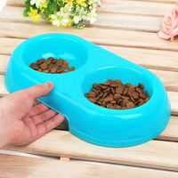 Environmental Plastic Translucent Double Basin Pet Feeding Bow