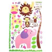 Giraffe Lion Monkey Elephant Wall Stickers Wallpaper