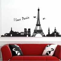 33X60CM Reuse Eiffel Tower PVC Wall Sticker Home Bedroom Decor