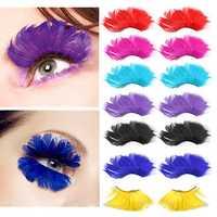 1 Pair Multicolor Fancy Party Long False Feather Eyelashes