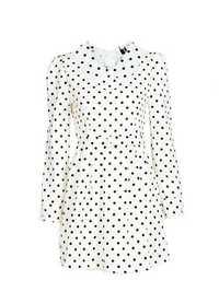 Zanzea Polka Dots High Waist Doll Collar Long Sleeve Dress