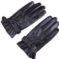 Men's Black Windproof Points Finger PU Leather Cycling Drive Gloves