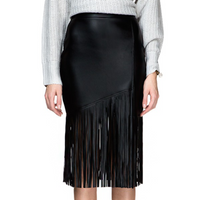 Sexy Hot Retro Bud Black Tassel Knee Length PU Skirt