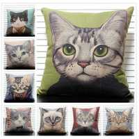 Cute Cats Throw Pillow Case Hand Painting Animal Cushion Cover