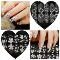 9-16 Transparent White Lace Crystal DIY Nail Sticker