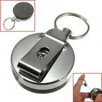 Stainless Steel Tool Belt Money Retractable Key Ring Pull Chain Clip