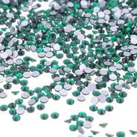 1440Pcs Dark Green Crystal Rhinestones Nail Art Tips Decoration