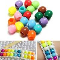 20pcs Acrylic Pony Beads DIY Colorful Rubber Bands Loom Bracelet