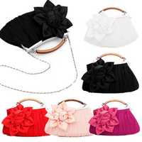 Rosette Blossom Ruched Tote/Clutch Handbag Bridal Metal Chain Purse