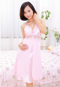 Sexy V-neck Faux Silk Strap Lace Casual Sleepwear Pajamas Nightdress