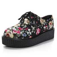 Vintage Floral Lace Up High Platform Skull Flat Creeper Shoes