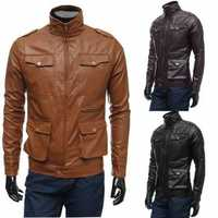 Mens PU Leather Jacket Design Simple Casual Multi Button Slim Coat