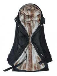 Women Removable Faux Fur Liner Thicken Hooded Warm Coat Outwear
