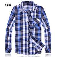 Fashion Mens Solid Grid Shirt Casual Slim Cotton Long Sleeved Shirt