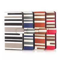 PU Stripe Wallet Leather Stand Case For Samsung Note4 N9100
