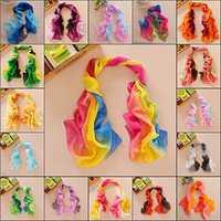 Women Elegant Mix Color Soft Silk Chiffon Wrap Neck Scarf Shawls