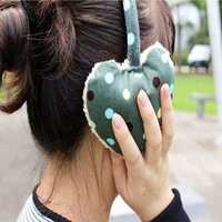 Women Girls Winter Cute Dot Print Hearts Shape Fur Warm Earmuffs