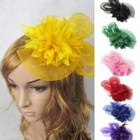 Bridal Wedding Sweet Small Flower Feather Headdress Hat Clip Hair Band