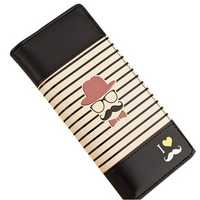 Women Leather Stripe Mustache Wallet Purse Long Clutch Card Holder Bag