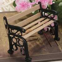 1:12 Wooden Bench Black Metal Dollhouse Miniature Garden Furniture Accessories